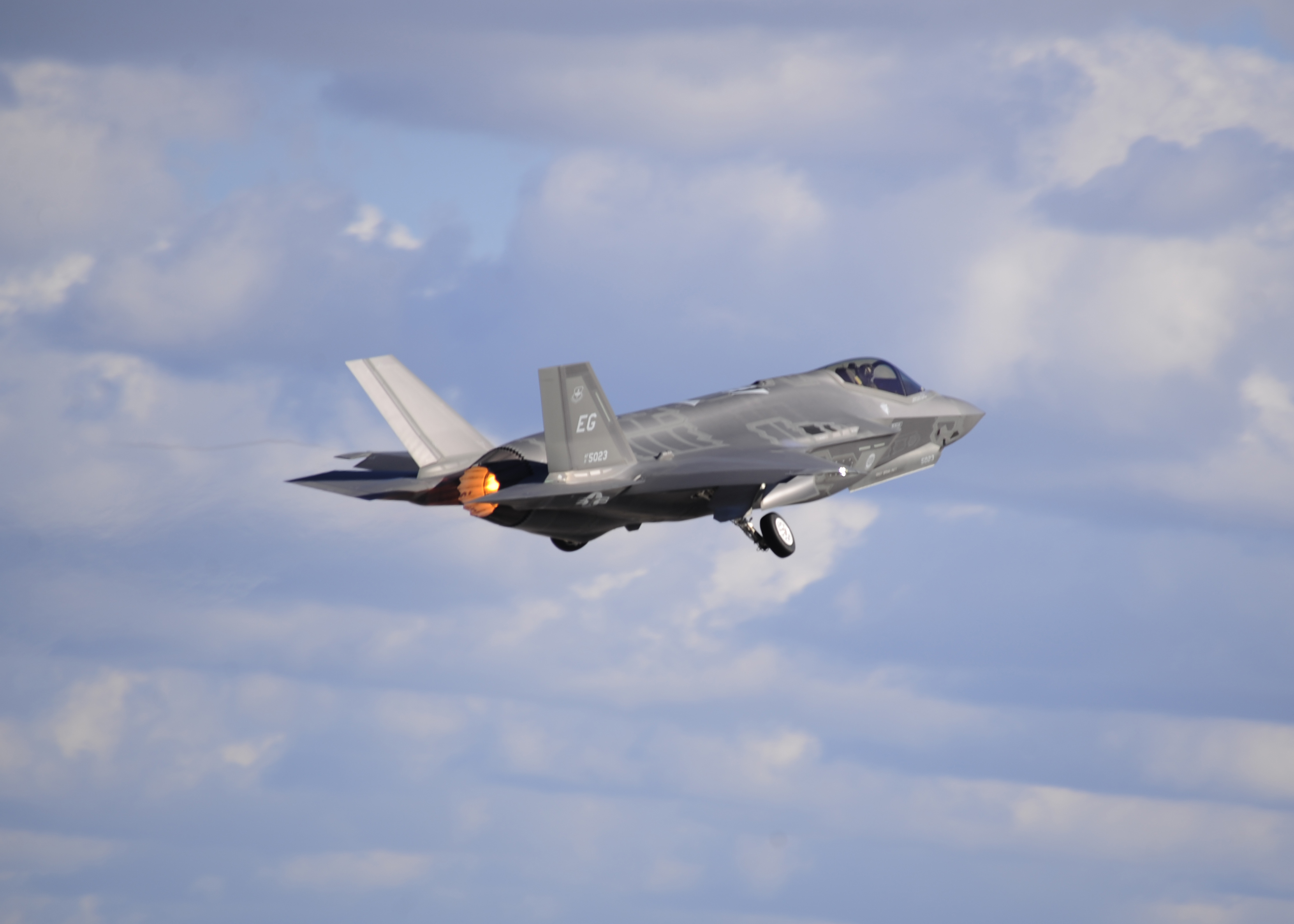 An F-35 Lightning II pilot from Eglin Air Force Base, Fla., takes off Dec. 11 from Tyndall Air Force Base, Fla., during the Checkered Flag exercise. The Checkered Flag exercise gave Tyndall and Eglin personnel the opportunity to see how F-35 and F-22 Raptor aircraft augment the ability combat airpower. (U.S. Air Force photo by Senior Airman Solomon Cook)