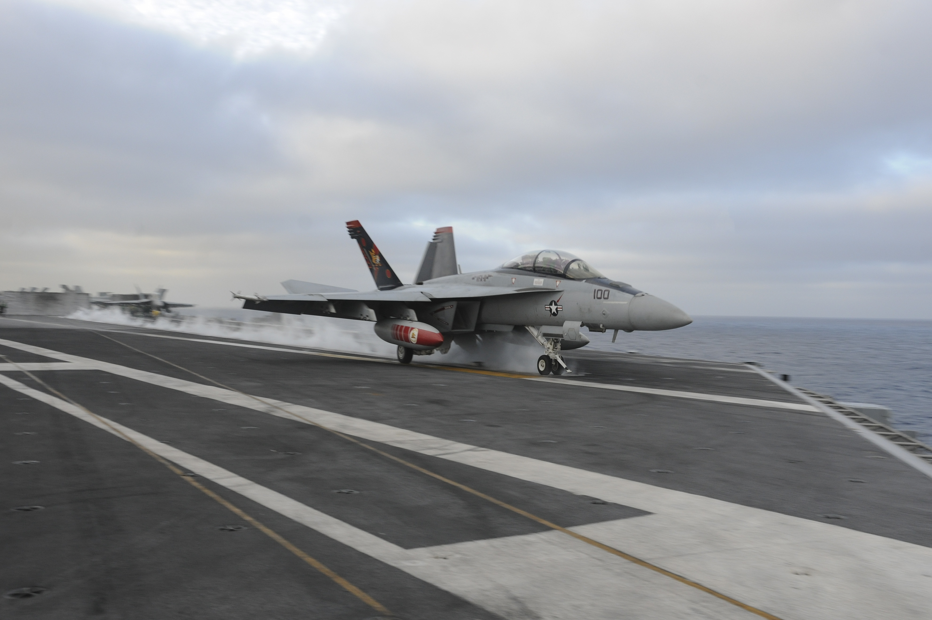 151121-N-NV908-299 PACIFIC OCEAN (Nov. 21, 2015) – An F/A-18F Super Hornet, assigned to the Red Rippers of Strike Fighter Squadron (VFA) 11, launches off the flight deck of the aircraft carrier USS Theodore Roosevelt (CVN 71). The Red Rippers,  along with all Carrier Air Wing One aircraft, are on their way home after completing an eight-month deployment as part of the Theodore Roosevelt Carrier Strike Group. Theodore Roosevelt is operating in the U.S. 3rd Fleet area of operations as part of a worldwide deployment en route to its new homeport in San Diego to complete a three-carrier homeport shift. (U.S. Navy Photo by Mass Communication Specialist Seaman Chad M. Trudeau/Released)