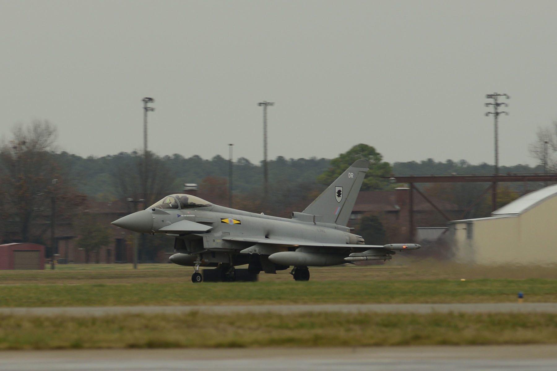 A British Royal Air Force (RAF) Typhoon lands at Langley Air Force Base, Va., Dec. 3, 2015. The inaugural Trilateral Exercise will display the capabilities of the F-22 Raptor, RAF Typhoon and the French air force Rafale. (U.S. Air Force photo by Airman 1st Class Derek Seifert)