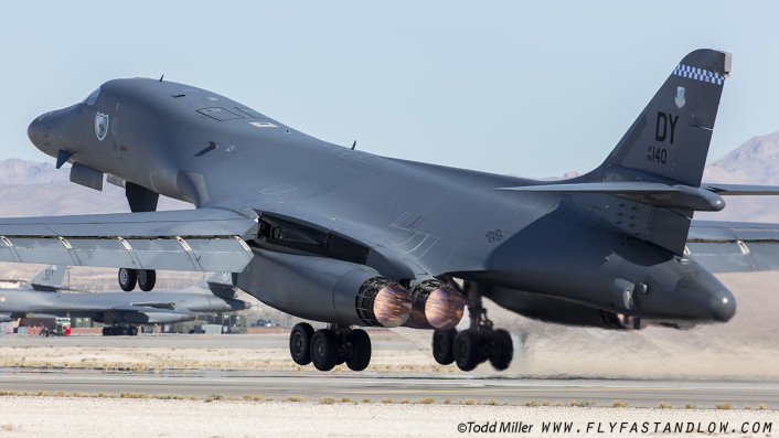 "B1-B ""Last Lancer"" from the 7th BW, 9th BS ""Bats"" out of Dyess AFB Texas launches on a Red Flag 16-1 sortie, Nellis AFB."