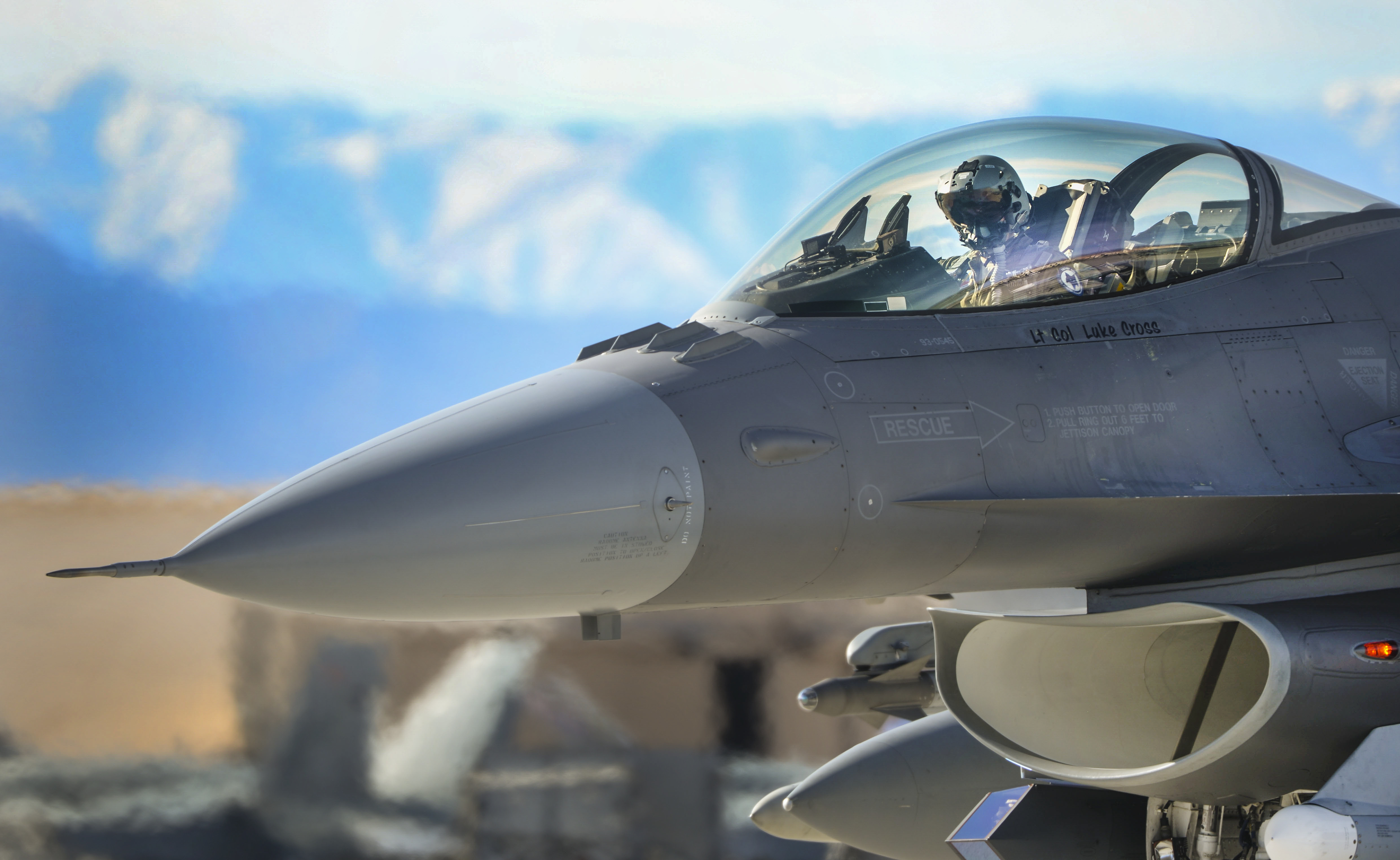 An F-16 Fighting Falcon pilot prepares for takeoff during Red Flag 16-1 at Nellis Air Force Base, Nev., Jan. 25, 2016. Red Flag is a realistic combat exercise involving U.S. and allied air forces conducting training operations on the 15,000 square mile Nevada Test and Training Range.