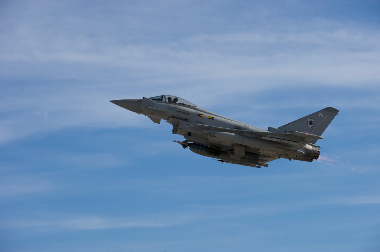 A Typhoon assigned to the 3 Fighter Squadron, Royal Air Force Coningsby U.K., launches from the flightline for a training sortie during Red Flag 16-1 at Nellis Air Force Base, Nev., Jan. 27, 2015. The 3 FS was one of three founding squadrons of the Royal Flying Corps Squadrons formed on May 13, 1912.
