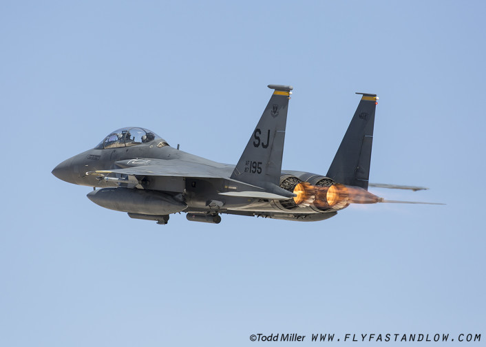 F-15E of the 4th FW and 336 FS of Seymour Johnson AFB launches from Nellis AFB for Red Flag 16-2 sortie.