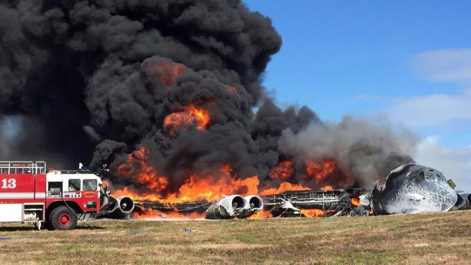A B-52 has crashed after take off from Andersen Air Force