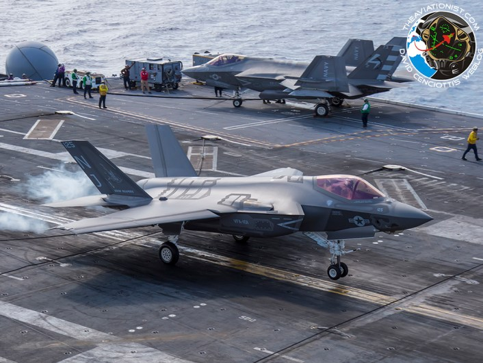 F-35C from VFA-101 Grim Reapers landing on the USS George Washington (CVN-73) during DT-III with VX-23 August 15, 2016