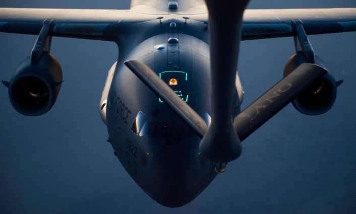 A C-17 Globemaster III approaches a KC-135 Stratotanker while performing a refueling sortie over Iraq in support of Operation Inherent Resolve September 15, 2016. The KC-135 provides the core aerial refueling capability for the U.S. Air Force and has excelled in this role for more than 50 years. (U.S. Air Force photo by Staff Sgt. Douglas Ellis/Released)