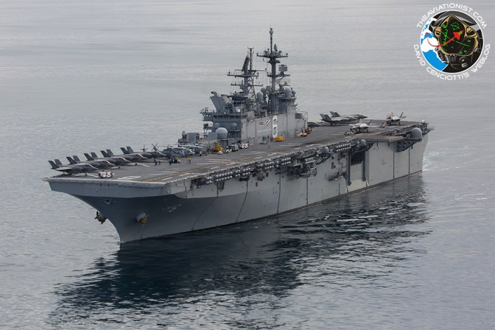 "The USS America (LHA-6) cruises off the coast of S. Cal with 10 USMC F-35Bs topside (2 more below) from VMFA-211 & VMX-1, as well as a UH-1Y, AH-1Z, & SH-60. Taken during the ""Proof of Concept"" demonstration Nov. 19, 2016."