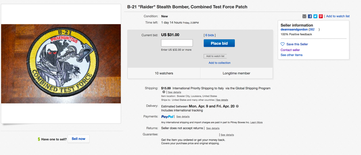 Brand New B-21 Raider Stealth Bomber Patch Appears on Ebay