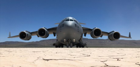 Check Out These Cool Shots Of C-17 Airlifters Operating On Delamar Dry Lake Bed in Nevada