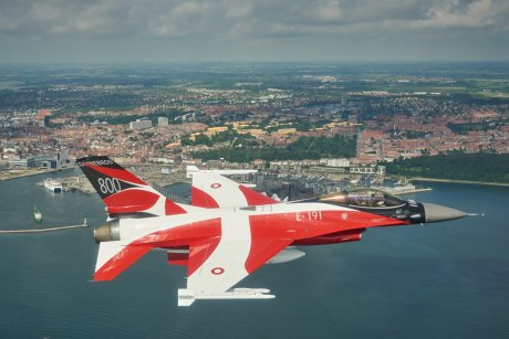 Take A Look At The Special-Colored F-16 That Celebrates the 800th Anniversary Of Denmark's Flag