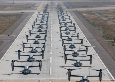 "Twenty six MV-22B Ospreys and 15 CH-53E Super Stallions Stage Impressive ""Elephant Walk"" At MCAS Miramar"