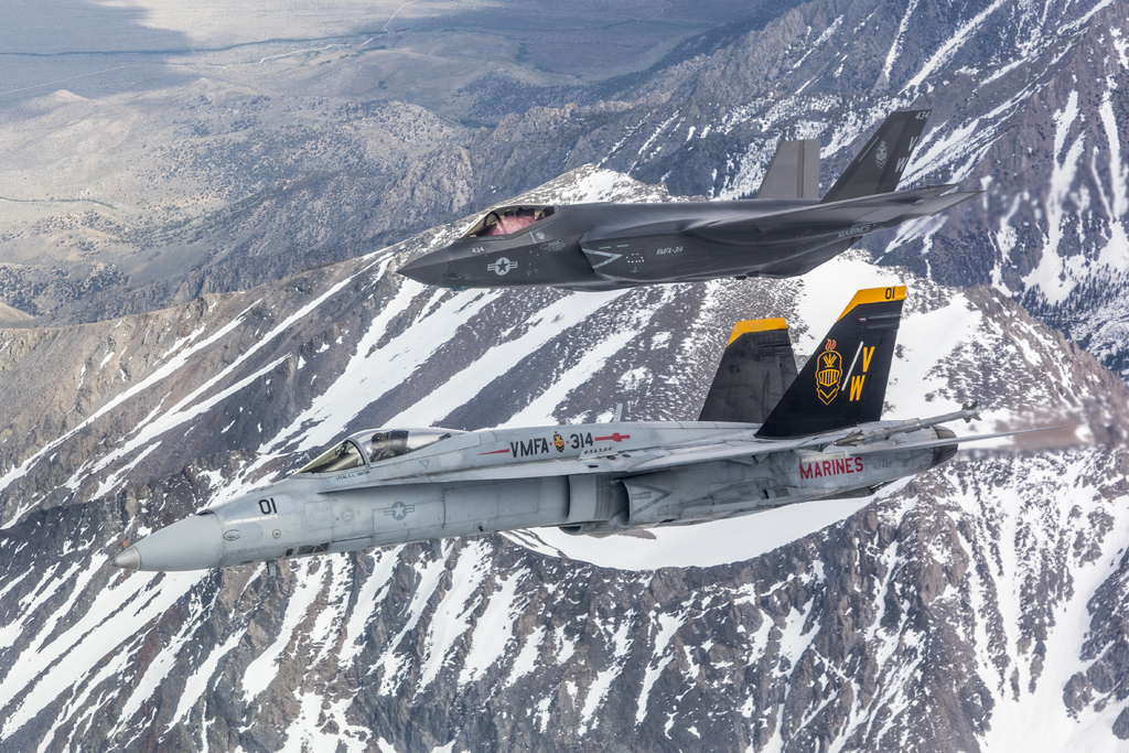 First VMFA-314 F-35C Flies In Formation With VMFA-314 F/A