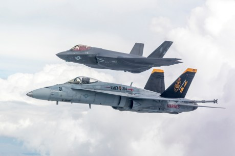 First VMFA-314 F-35C Flies In Formation With VMFA-314 F/A-18A++ As Squadron Prepares To Retire Legacy Hornets