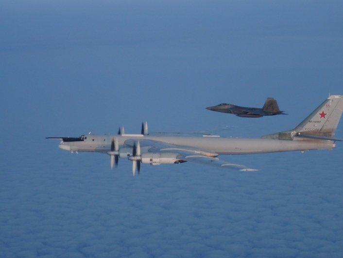 U S  F-22s, Canadian CF-18s Intercept Russian Tu-95s Inside Alaska