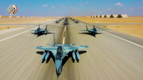 "Egyptian Air Force Stages ""Elephant Walk"" With 16 MiG-29M/M2 Fulcrum Jets"