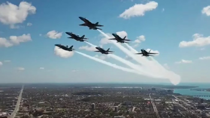 BADrone top - Drone Flies Dangerously Close to Blue Angels in Detroit America Strong Flyover.