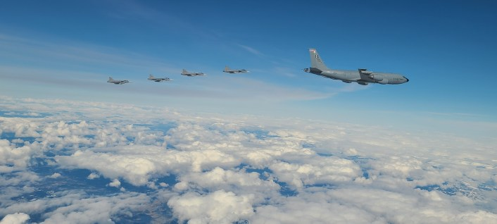 B 1 over Sweden and Norway 4 - A B-1 Lancer's WSO Sent Us These Pix Of RNoAF F-35s and Swedish Gripens Escorting The Bone Over The Nordic Region
