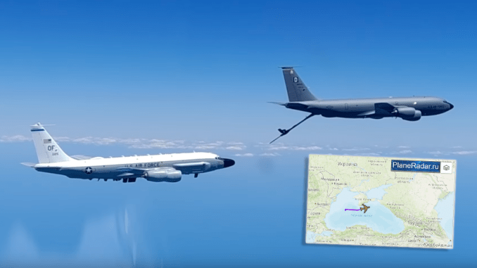 RC 135 AAR intercept - Video: Russian Su-30 Escorts USN P-8 and Watches USAF RC-135W Refuel from a KC-135 over the Black Sea
