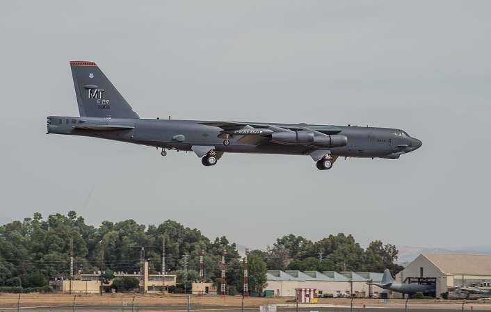 B 52 landing at Moron AB 2 - Two U.S. B-52s of Bomber Task Force 20-4 Fly Mission In Moroccan Airspace Before Landing at Spanish Airbase