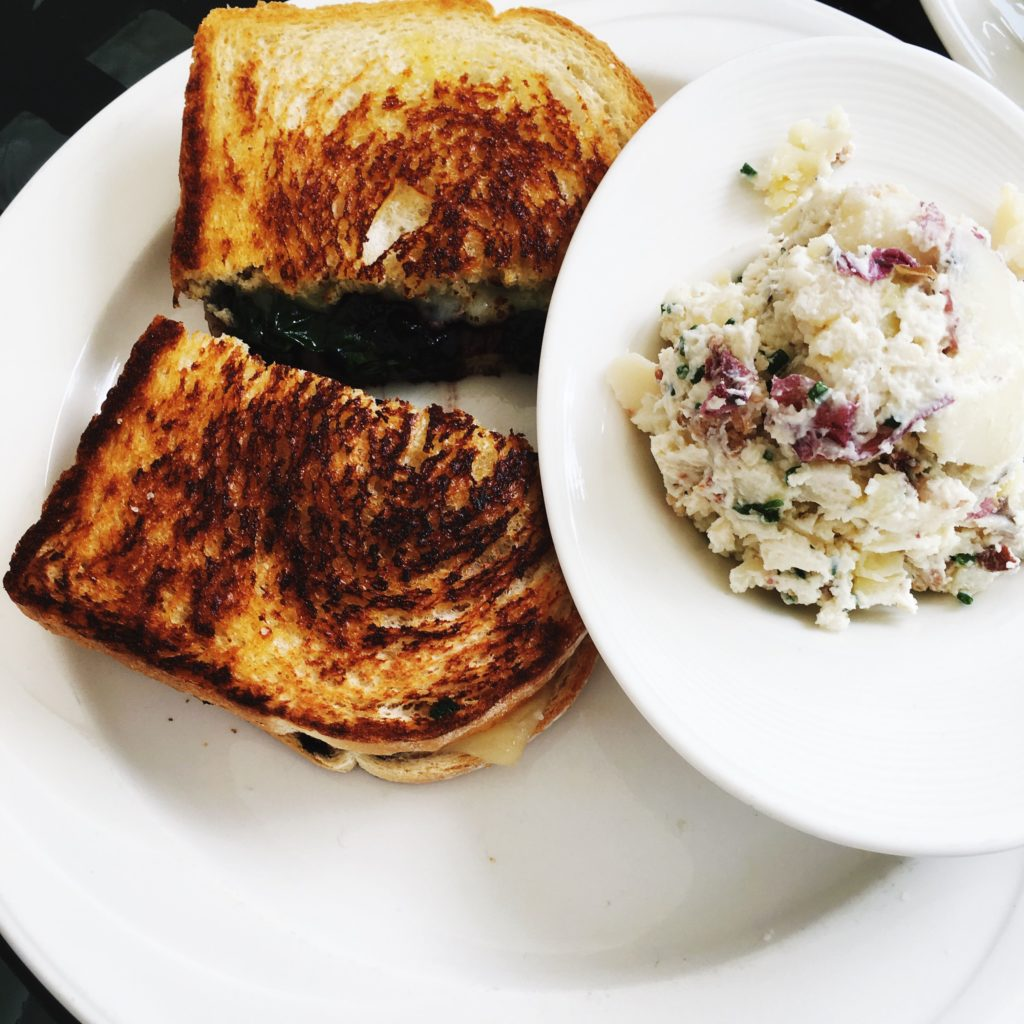 Mum enjoyed the Grilled Cheese with Blueberry Balsamic Compote and Potato Salad.