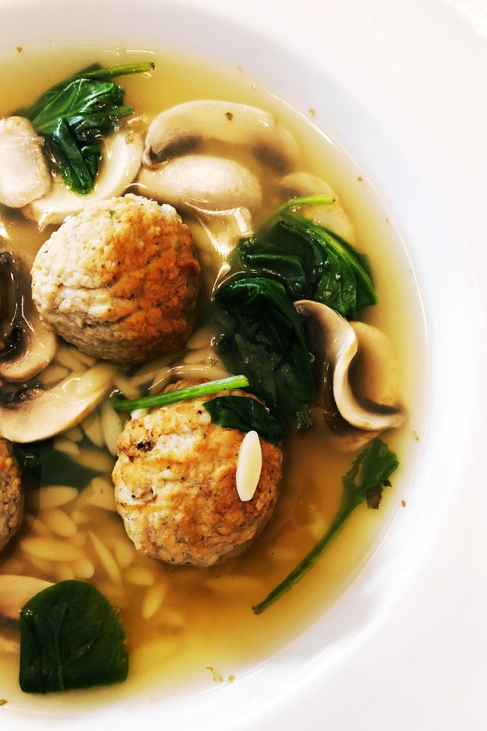 Turkey Meatball + Orzo Soup with Fresh Spinach & Mushrooms