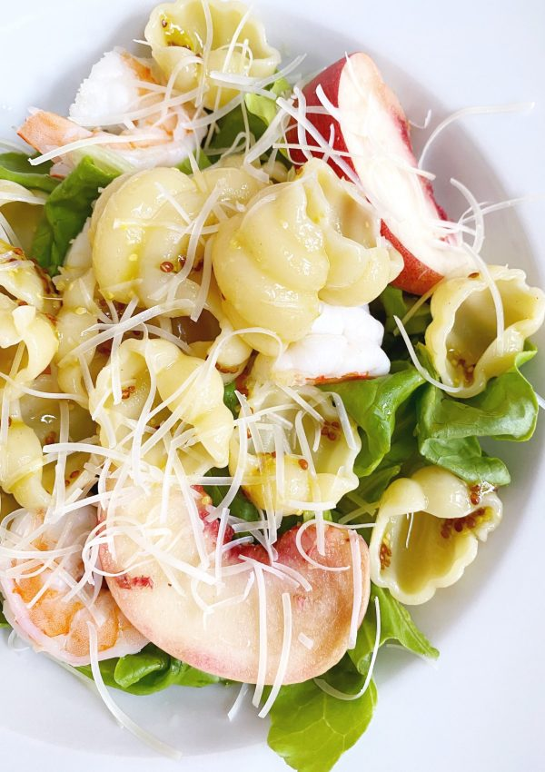 Shrimp & White Peach Salad with Bibb Lettuce // Champagne Mustard Vinaigrette