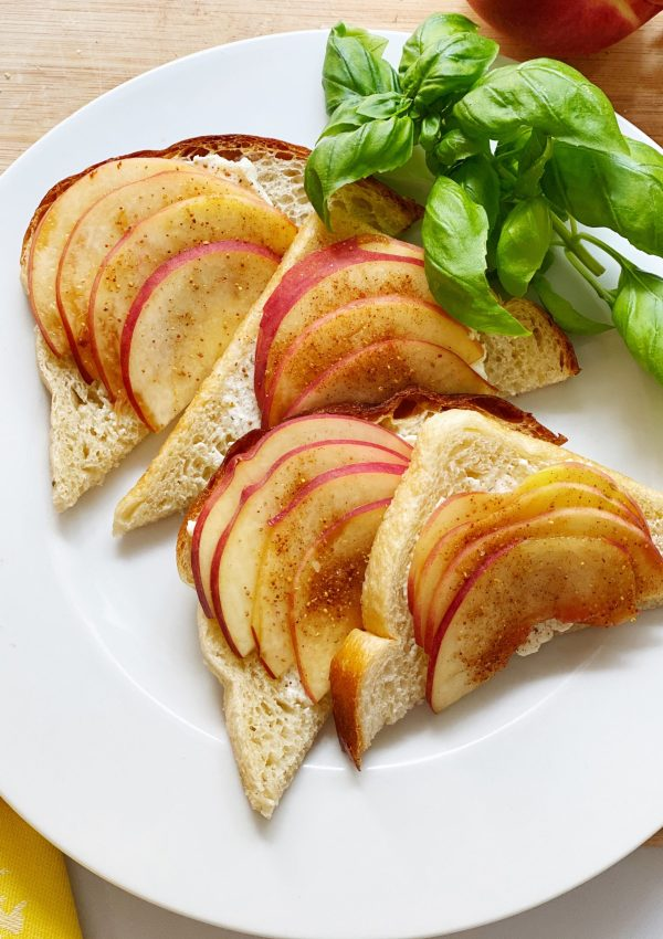 Spiced White Peaches with Spreadable Savory CHEVOO on Toast