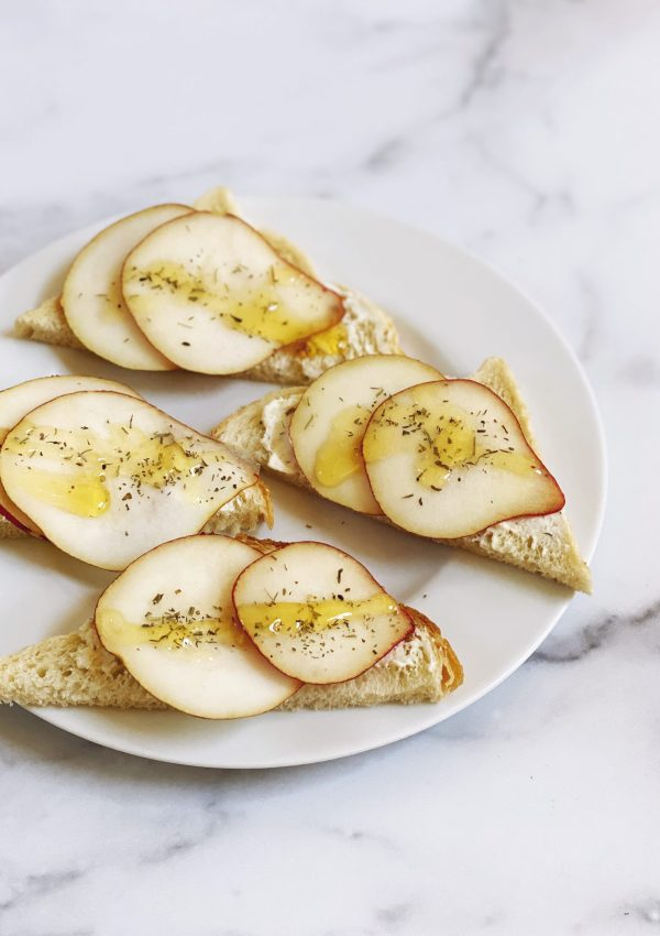 Opened Faced Anjou Pear & CHEVOO Sandwiches