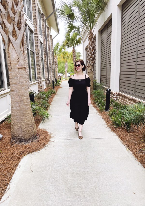 Off the Shoulder Black Dress // Animal Print Shoes