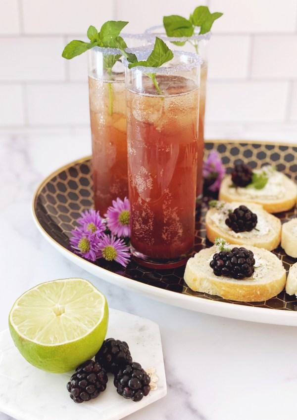 Crostini with Herbed Sheep Cheese, Blackberries & Mint Flowers // Blackberry Jam Spritzer