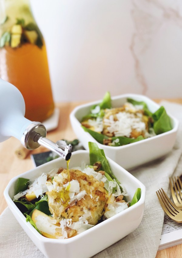 Crab Cake & Peach Salad featuring Oliviers & Co EVOO