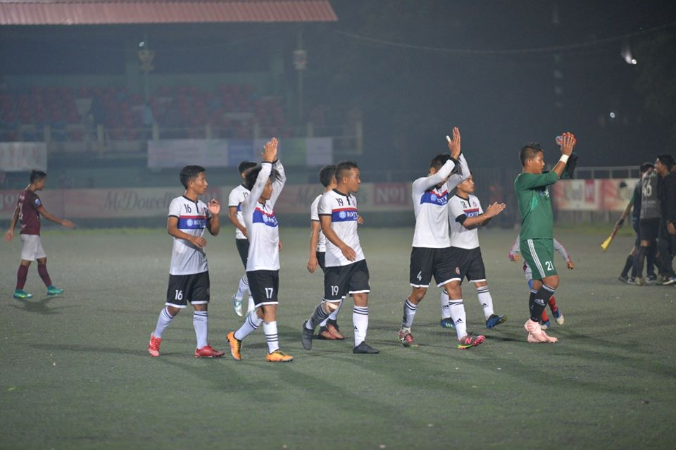 Chhinga Veng FC players applaud the crowd after their 2-1 win over E;ectric Veng FC. Photo Courtesy: @mfamizoramfootballassociation/Facebook