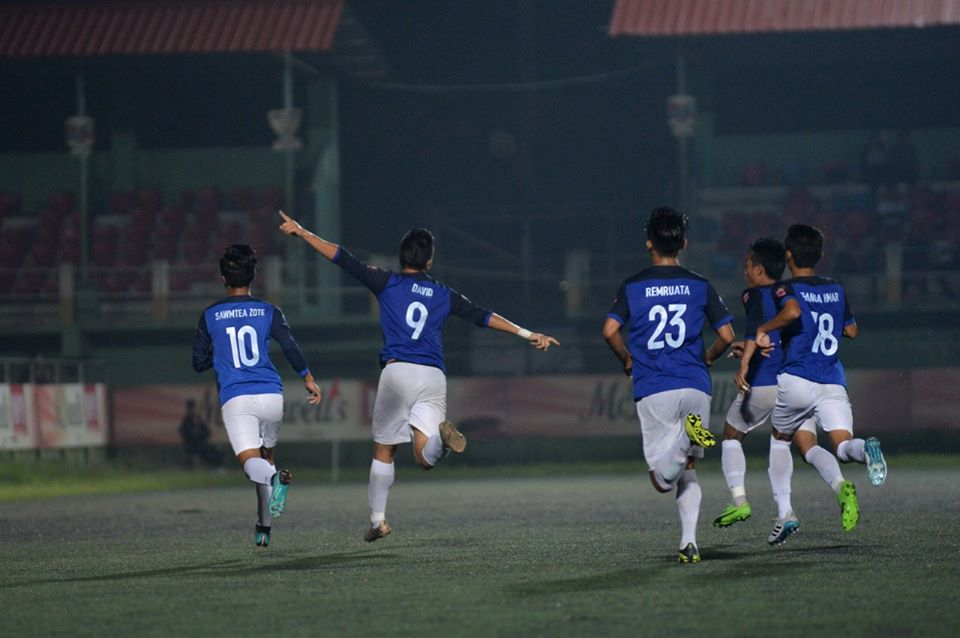 Electric Veng FC's David Lalchhuanawma celebrate after scoring against Bethlehem Vengthlang FC. Photo Courtesy: @mfamizoramfootballassociation/Facebook