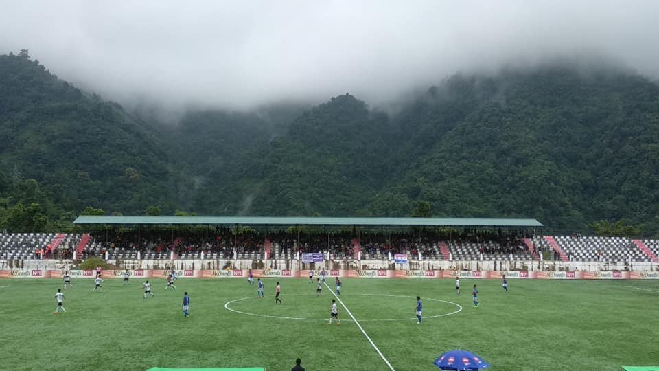 """""""If God had wanted us to play football in the clouds, he'd have put grass up there."""" The picturesque Serchhip Ground. Photo Courtesy: @mfamizoramfootballassociation/Facebook"""
