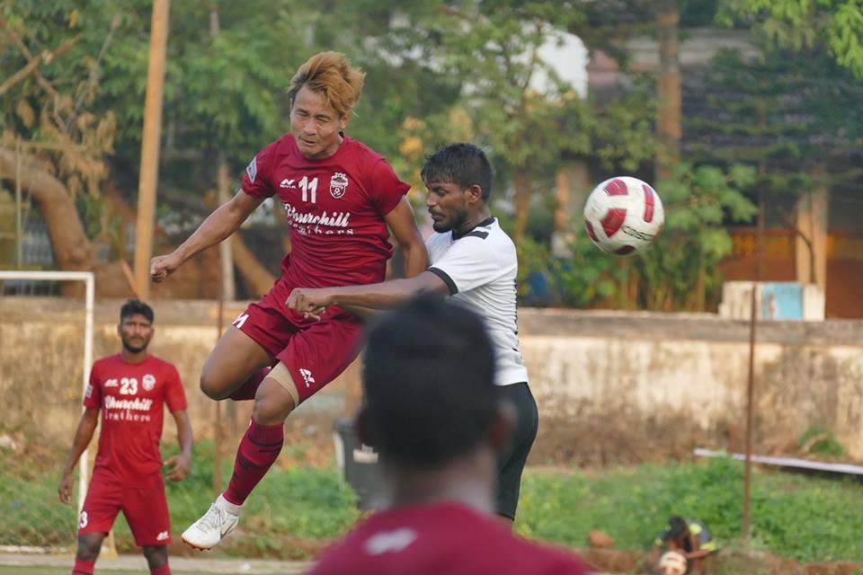 Churchill Brothers forward, Uttam Rai, in action against Vasco SC in the Goa Professional League. Photo Courtesy: GoaFootball.in