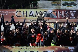 Champions! Aizawl FC players celebrate winning the 7th Mizoram Premier League at Lammual Stadium, Aizawl. Photo Courtesy: Mizo Football Association