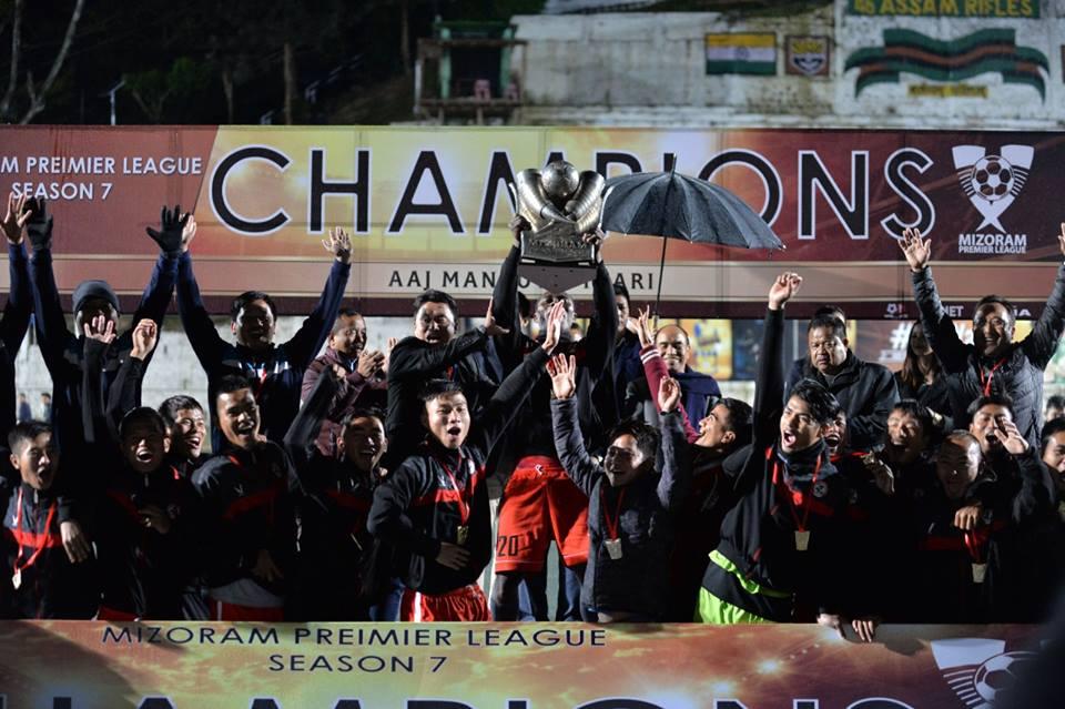 Champions! Aizawl FC players celebrate winning the 7th Mizoram Premier League at Lammual Stadium, Aizawl.   Photo Courtesy: Mizo Football Association