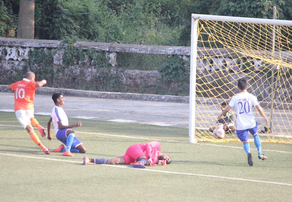 Fady Riad scores the second goal for Sporting Clube de Goa against Corps of Signals in the Goa Professional League.  Photo Courtesy: Goa Football Association