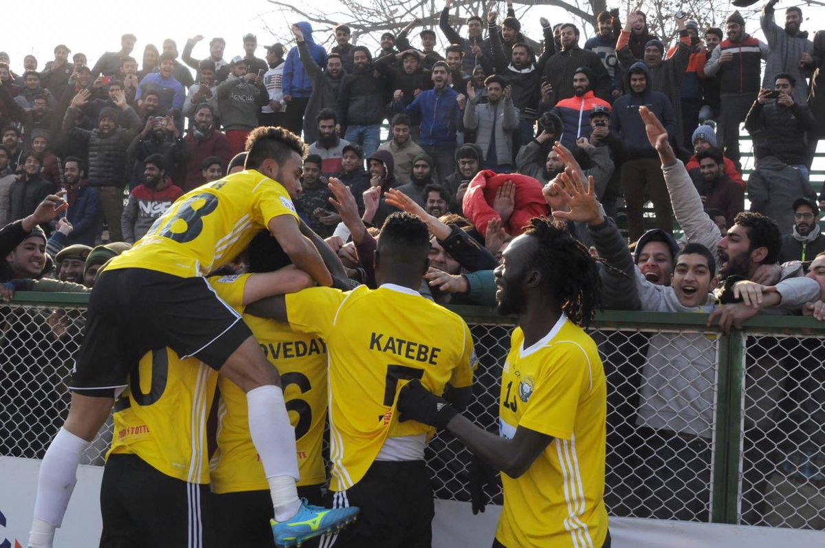 The roar of the Snow Leopards: Real Kashmir FC players celebrate scoring the winner against the Chennai City FC. Photo Courtesy: @RealKashmirFC