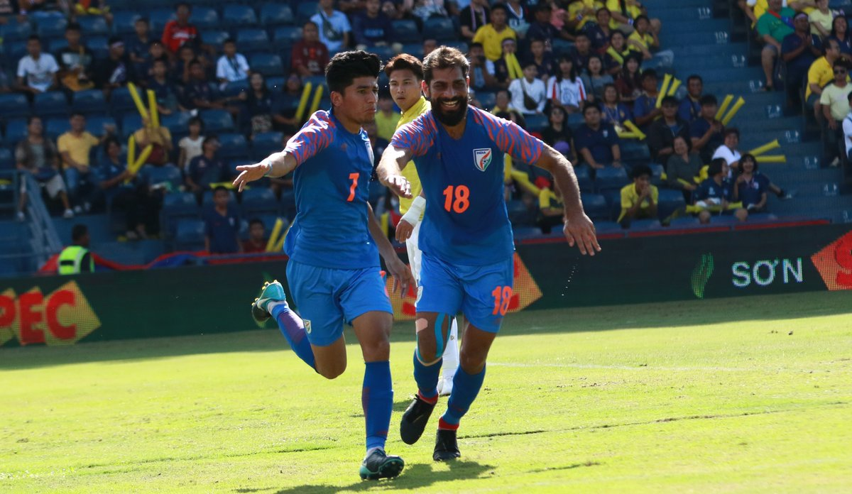 Anirudh Thapa and Balwant Singh celebrate after India take the lead against Thailand in the King's Cup 2019
