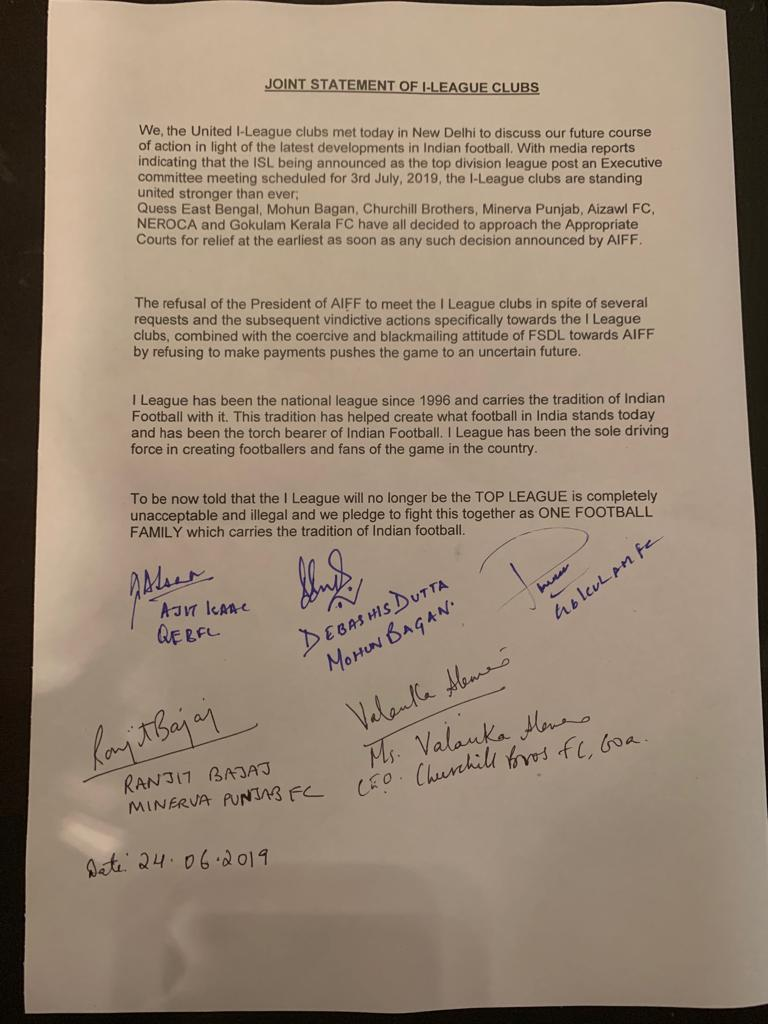 Transcript of the Joint Statement by I-League representatives.