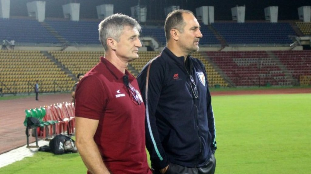 Northeast United FC Head Coach Robert Jarni with former teammate and Indian Football Team Head Coach Igor Štimac