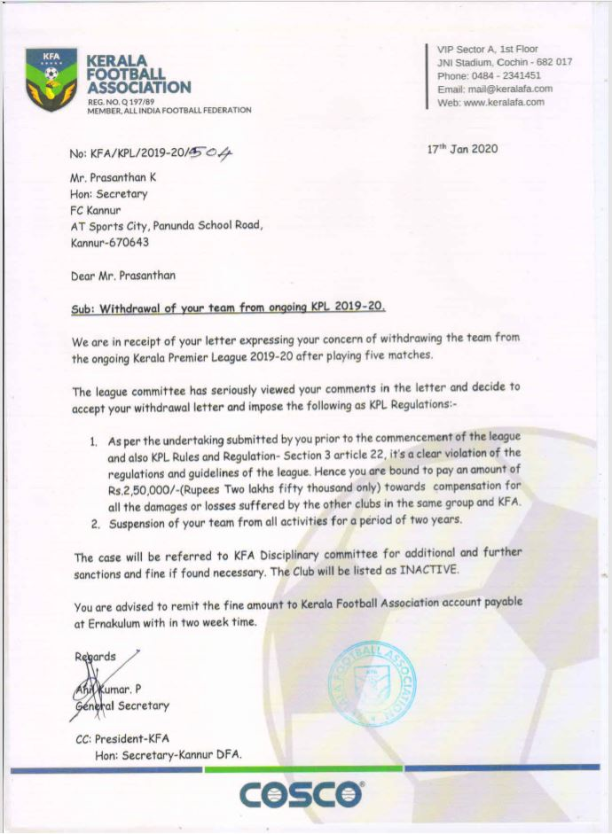 Kannur City FC withdraw from Kerala Premier League 2019-20