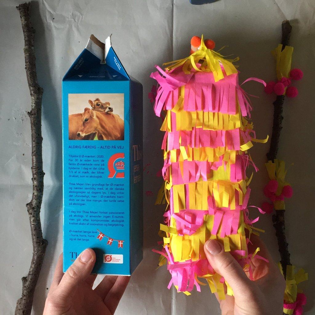 milk carton pinatas eco friendly party craft idea