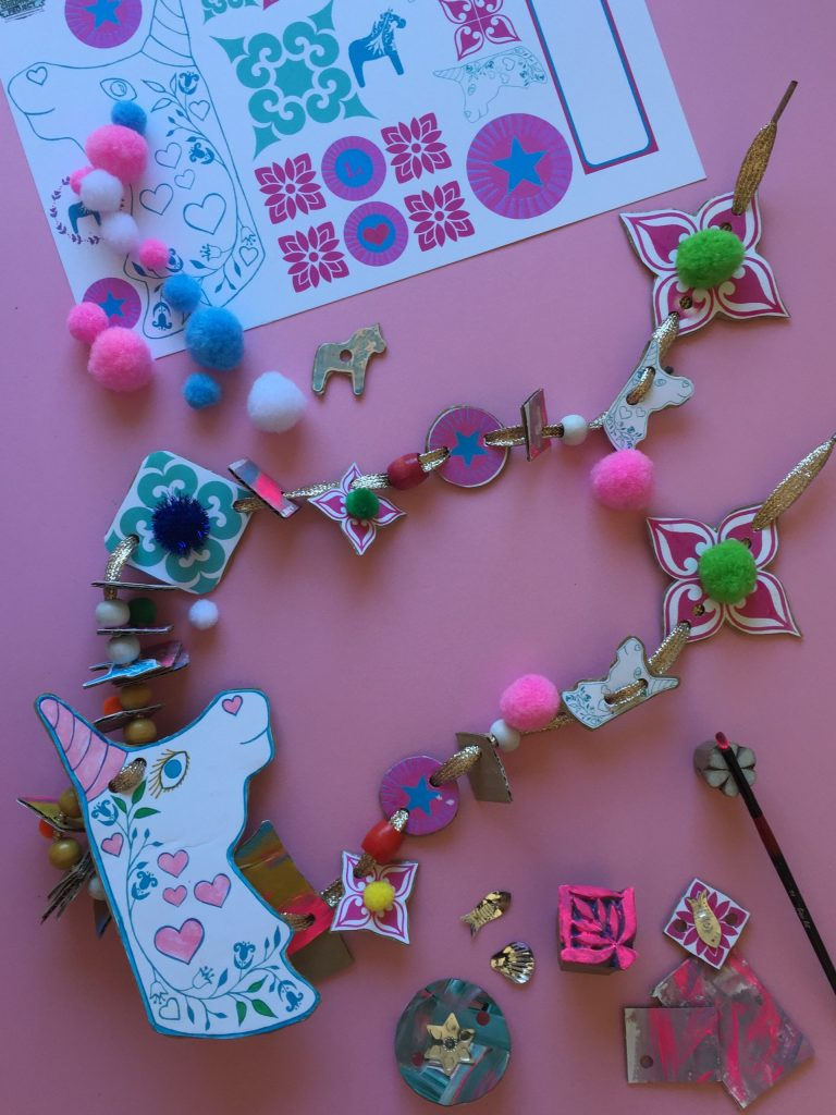 Kids Recycled Cardboard Art Necklaces – Free Printable