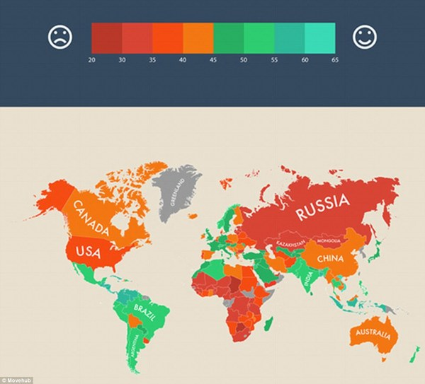 Map Of The Happiest Countries In The World   This May Surprise You happiest countries in the world map