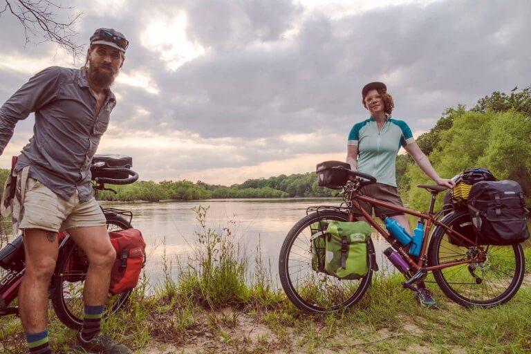 biking accross USA collecting trash