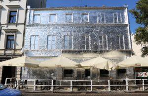 Warsaw building in tin foil