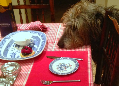 Martha eyeing up fruit tartlet