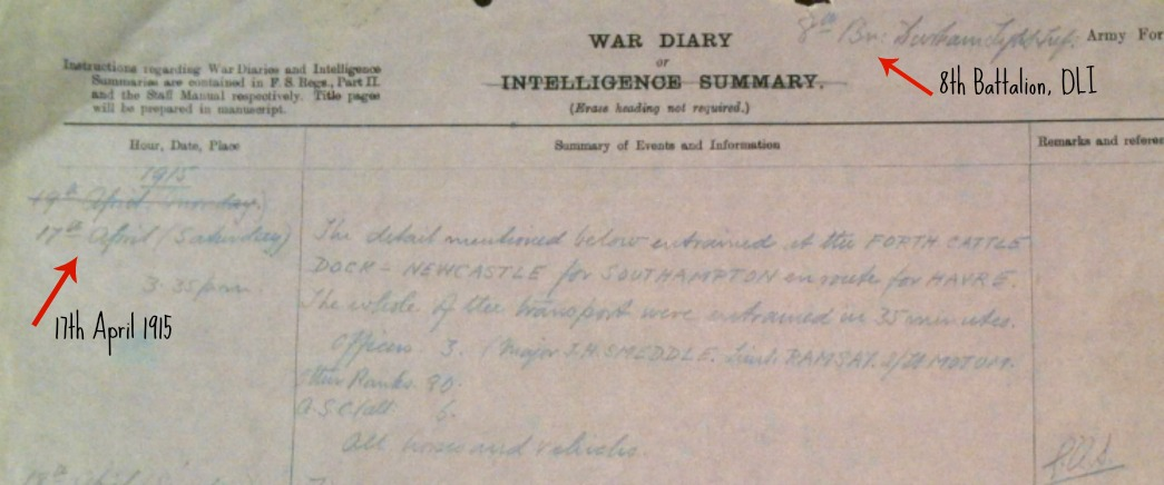 War Diary 17th April extract